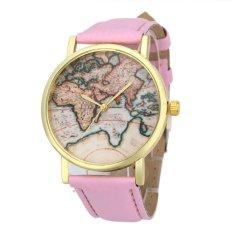 UJS Vintage Earth World Map Watch Alloy Women Analog Quartz Wrist Watches Pink (Intl)