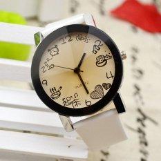 UJS Women Girls Fuax Leather Strap Round Dial Quartz Wrist Watch White (Intl)
