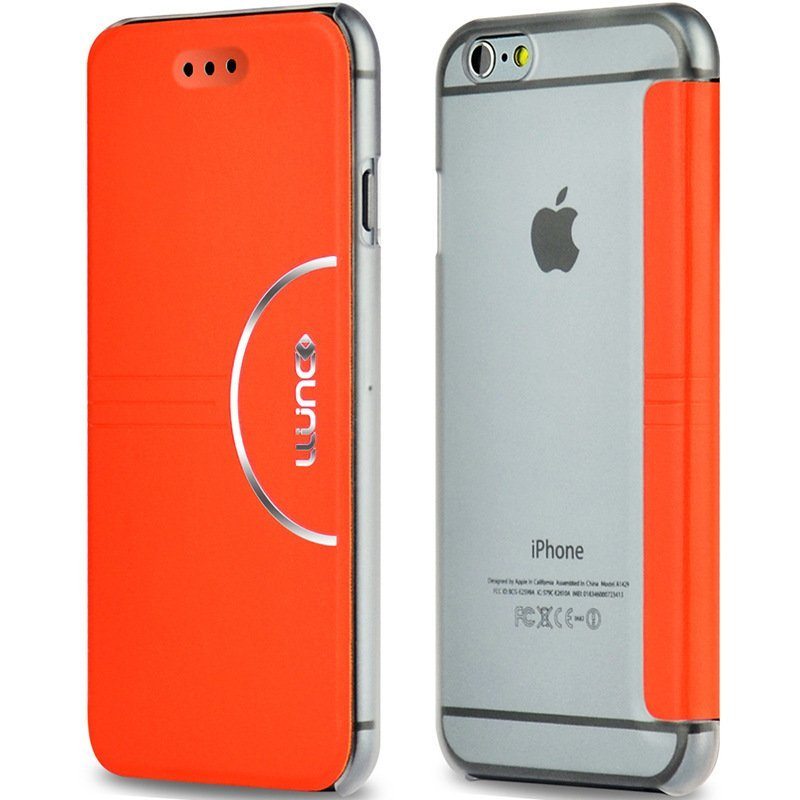 "Ultra Thin Fashion Flip PC + Pu Leather Case Cover For iPhone 6 4.7"" Orange"