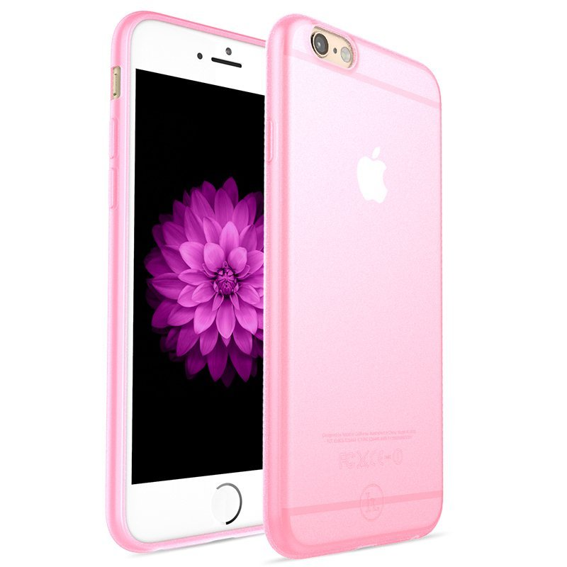Ultra Thin Slim Matte frosting Transparent Protective Cover Case for iPhone 6 /6s 4.7 Moblie Phone Shell/Cases Transparent + pink (Intl)