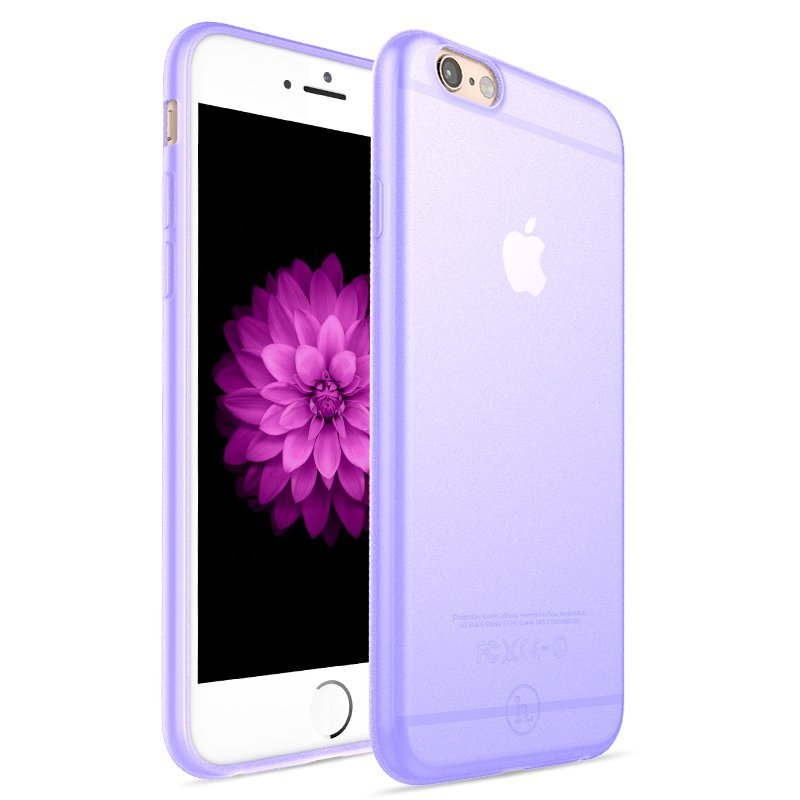 Ultra Thin Slim Matte frosting Transparent Protective Cover Case for iPhone 6 plus/6s plus 5.5 Moblie Phone Shell/Cases Transparent + Purple (Intl)