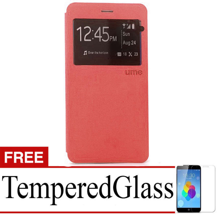 Ume Flip Cover For Asus Zenfone Go 4.5 Inch - Merah + Gratis Tempered Glass