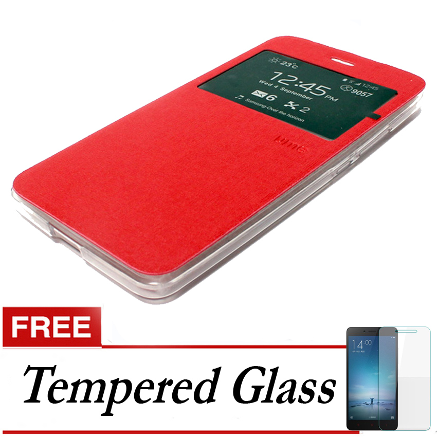 Ume flip Cover Samsung Galaxy A5 2016/A510 - Merah + Gratis Tempered Glass
