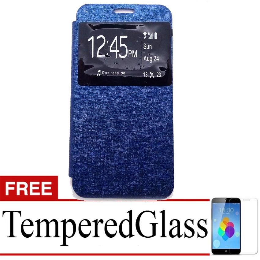 Ume flip Cover Sony Xperia Z5 Plus- Biru Dongker + Gratis Tempered Glass