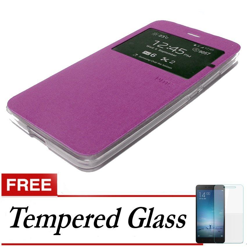 Ume Flip Cover untuk Asus Zenfone Zoom Zx550 - Ungu + Gratis Tempered Glass
