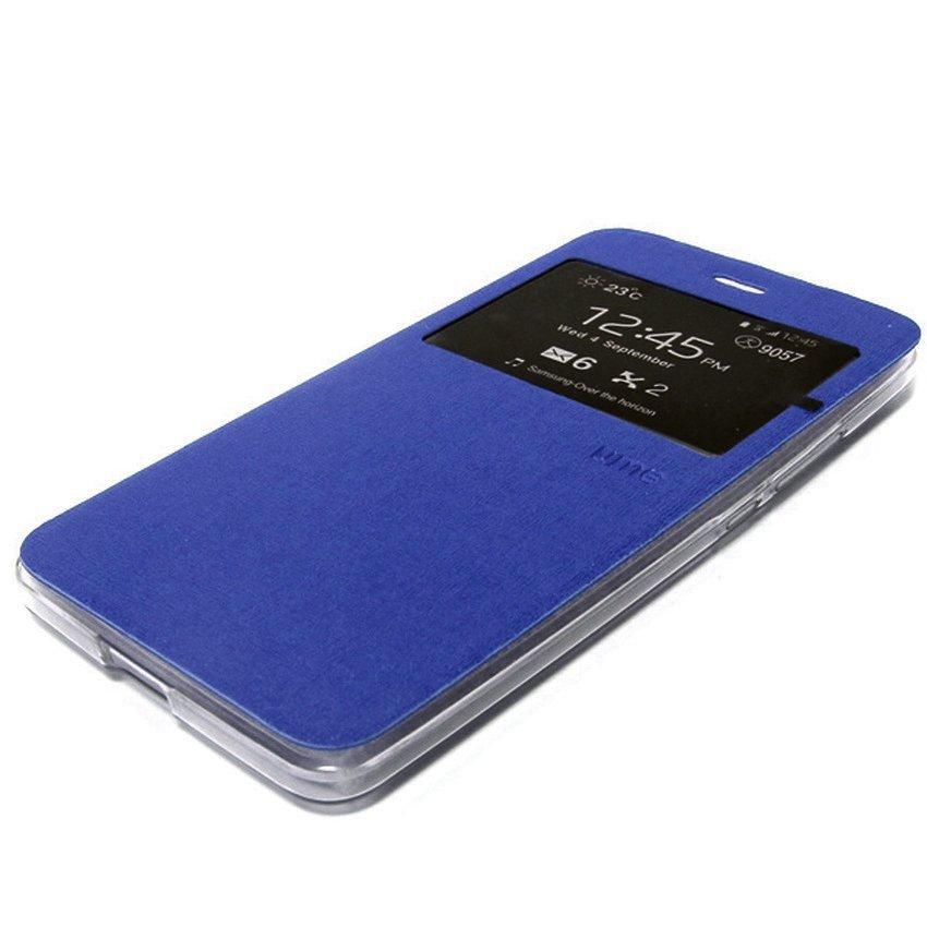 Ume Flip Cover untuk Huawei P8 Lite - Biru + Gratis Tempered Glass