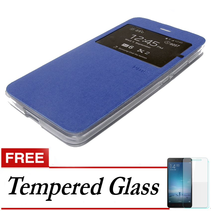 Ume Flip Cover Untuk Samsung Galaxy J1 2016- Biru Dongker + Gratis Tempered Glass