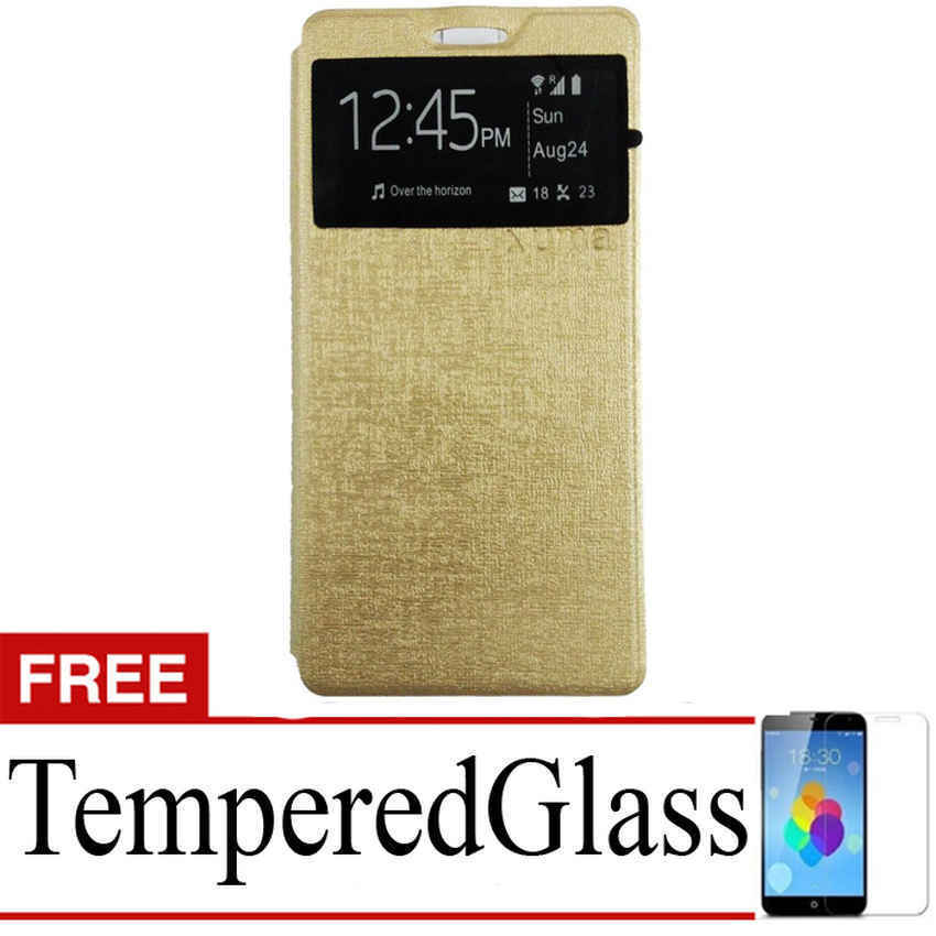 Ume Flip Cover untuk Sony Xperia Z5 Plus - Emas + Gratis Tempered Glass