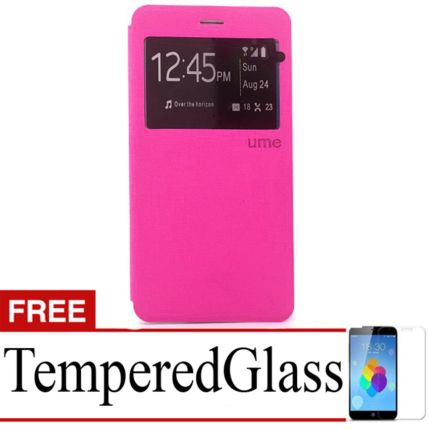 Ume Flip Cover untuk Sony Xperia Z5 Plus - Pink + Gratis Tempered Glass