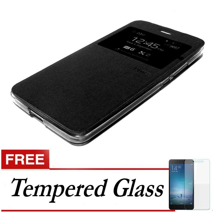 Ume Flip Cover untuk Vivo Y27 - Hitam + Gratis Tempered Glass