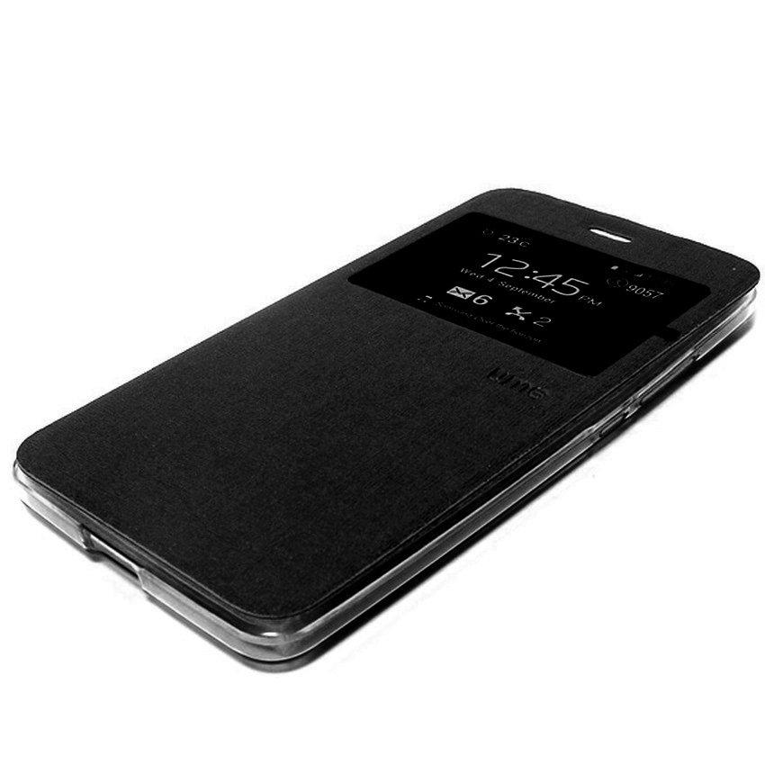 Ume Flip Cover untuk Vivo Y31 - Hitam + Gratis Tempered Glass