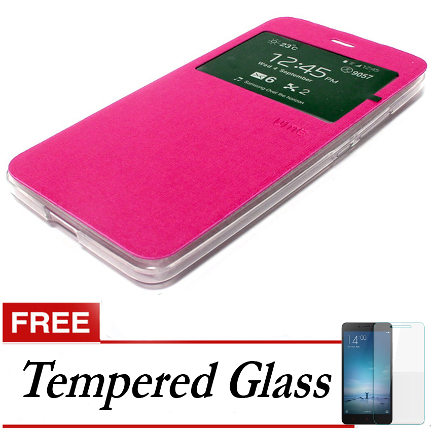 Ume Flip Cover untuk Vivo Y31 - Pink + Gratis Tempered Glass