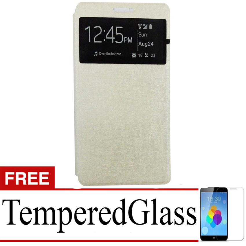 Ume flip Cover ZTE Blade A711- Silver + Gratis Tempered Glass