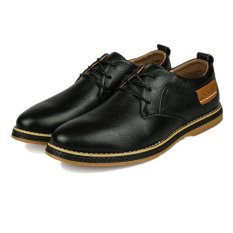 UNC 2016 New Style Spring Tide Men's Leather Shoes Cow Leather Male British Style Business Casual Shoes -Black - Intl