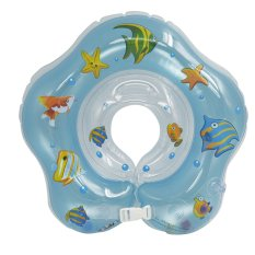 Underwater World Baby Equipment Infant Bath Inflatable Swim Ring Swimming Aid Neck Collar Float Ring with Handle Blue