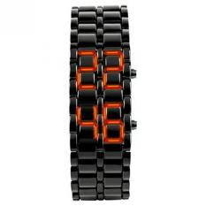 Unisex Lava Iron Samurai Metal LED Faceless Bracelet Watch Wristwatch (Black Red)