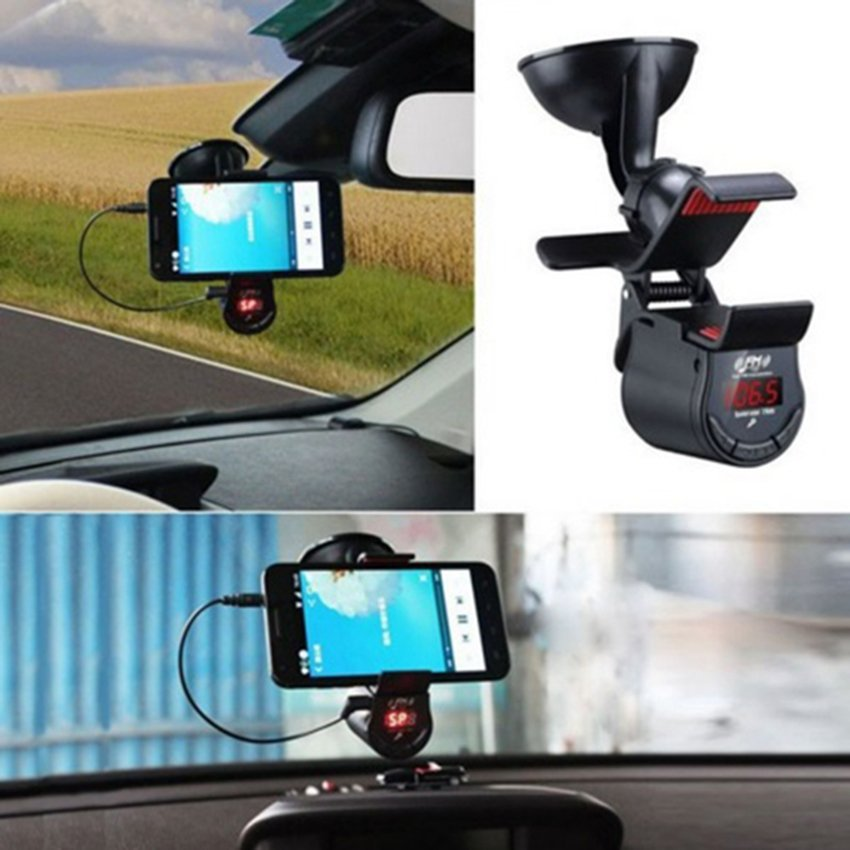 Universal 3 in 1 Bluetooth Handsfree FM Transmitter and Universal Smartphone Holder - Black
