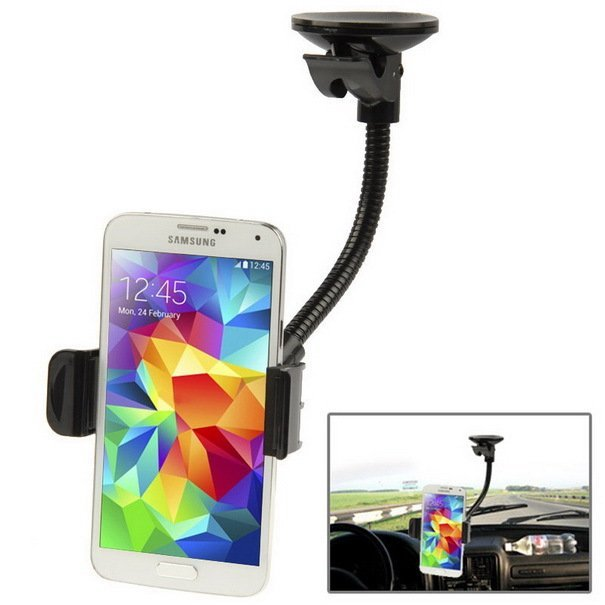 Universal 360 Degrees Rotation Suction Cup Car Mount Holder for Samsung Galaxy S5 / G900 / Galaxy S IV / i9500 / i9300, iPhone 5 & 5S (Black)