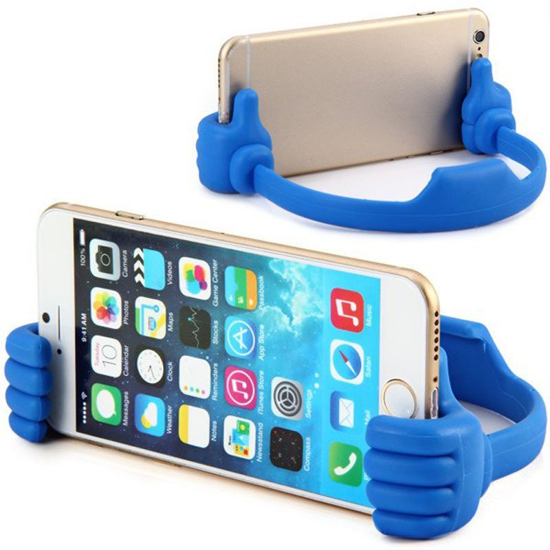 Universal Big Finger Clip Bracket Flexible Phone Stand Holder for iPhone Samsung iPad (Blue)