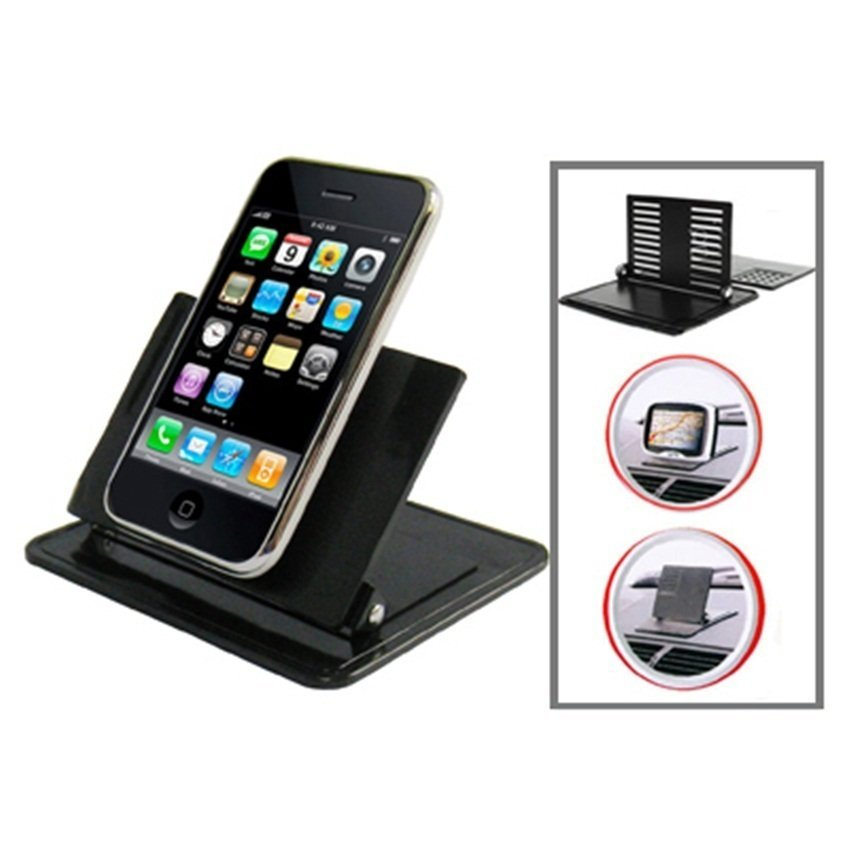 Universal Car Dashboard Rubber Smart Stand Holder for Mobile Phone / MP4 / GPS - Hitam