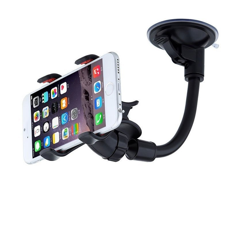Universal Double Clip Car Mount Holder Stand Windshield Dashboard Desktop Car Phone Cradle for Samsung Galaxy Note 5 (Black) (Intl)