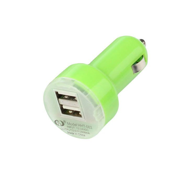 Universal Dual Double USB Port Car Charger Adapter For Samsung Apple HTC Nokia (Green)