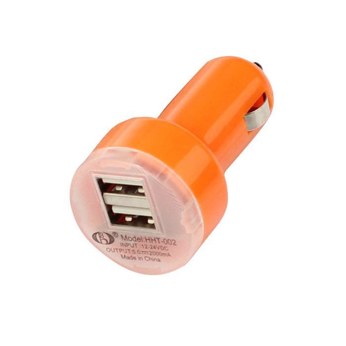Universal Dual Double USB Port Car Charger Adapter For Samsung Apple HTC Nokia Orange