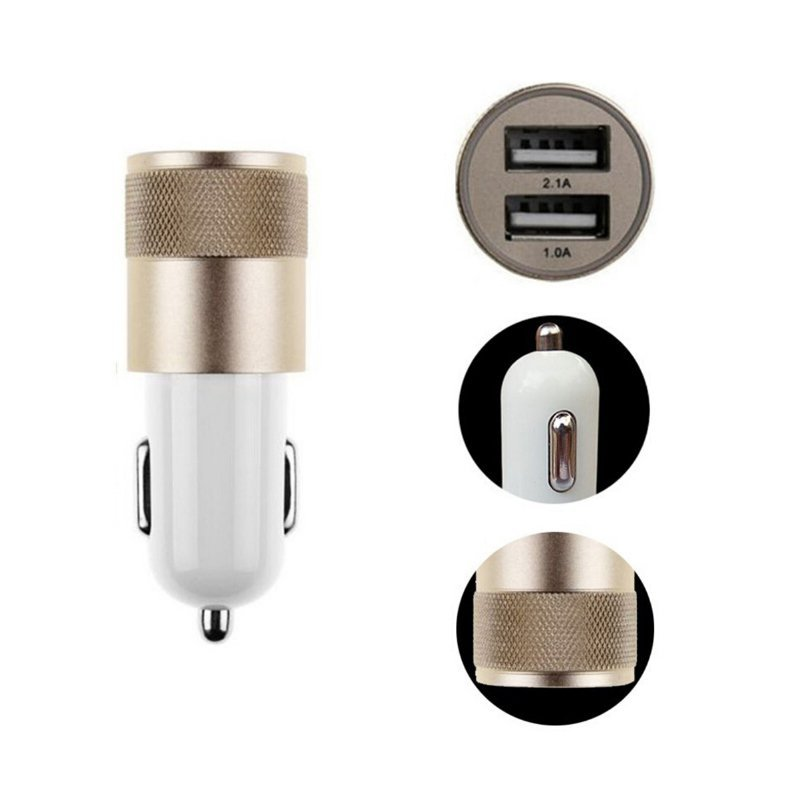 Universal Dual USB Car Charger 12V 2A Aluminum 2 USB Ports For iPhone For iPad For Android Smart Phone(Black) (Intl)
