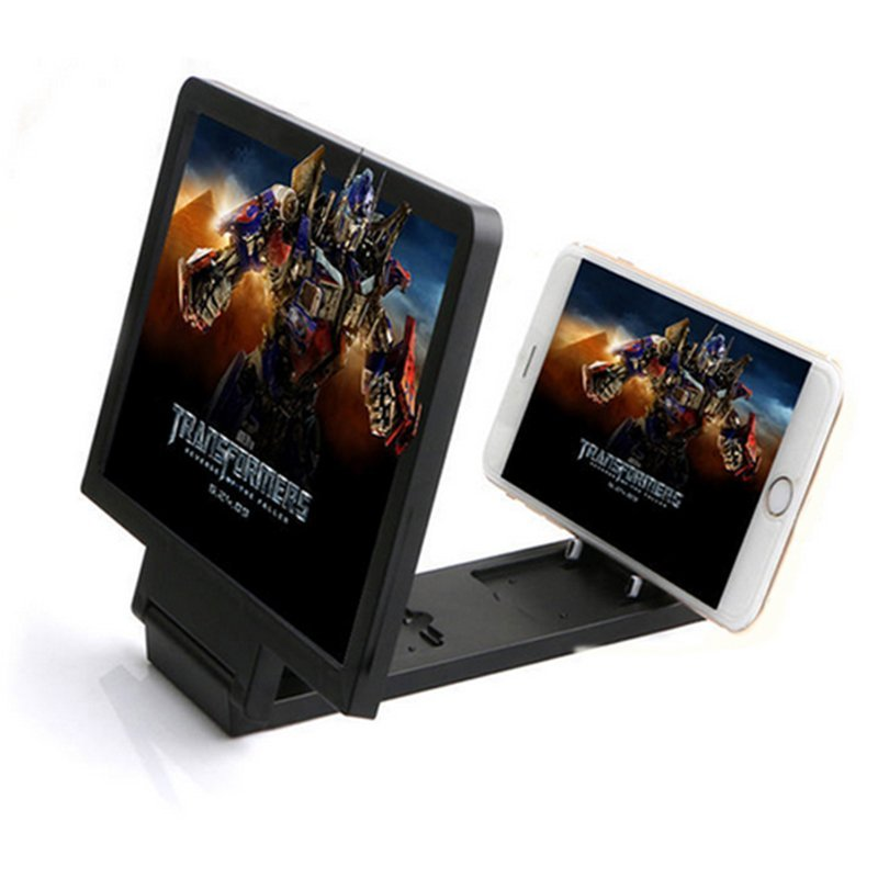 Universal Enlarge Screen Magnifier Bracket Stand 3D for Smartphone - Hitam