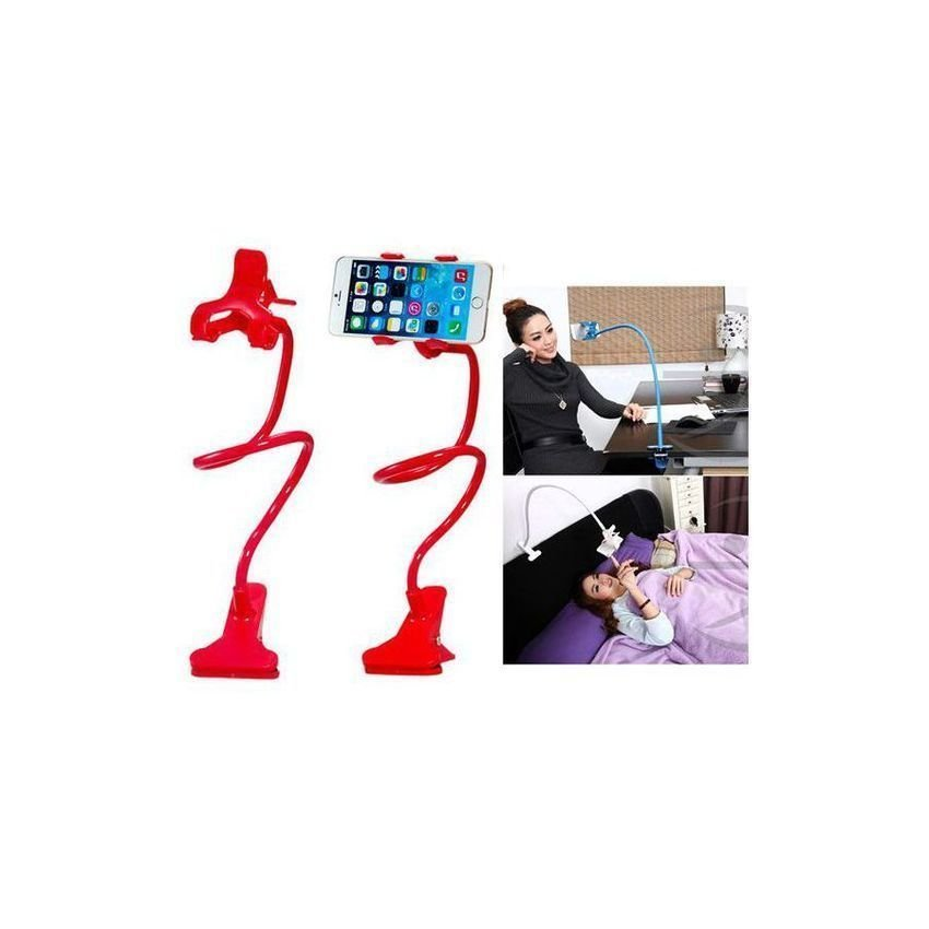 Universal Flexible Neck Clip on Mobile Phone Holder Stand Tablet Holder Stand (Red)