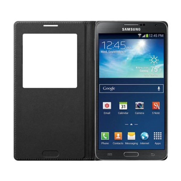 Universal Flip Cover Leather Case with S-view Auto-lock for Samsung Galaxy Note 3 N9000 - Hitam