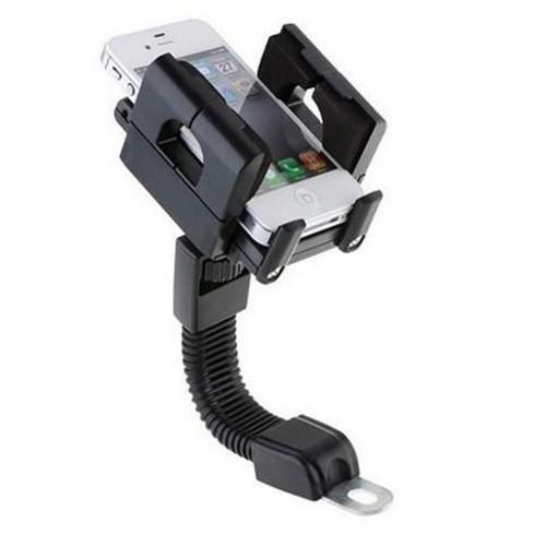 Universal - Holder Jepit GPS Smartphone di Spion Motor - Hitam