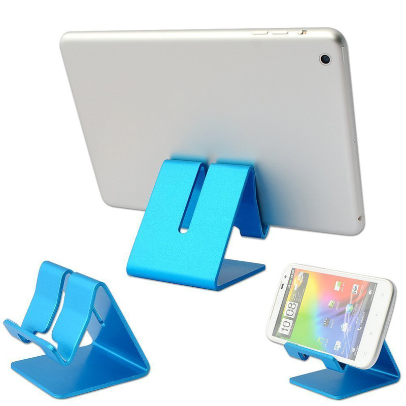 Universal Solid Aluminum Alloy Metal Mobile Phone Desktop Stand Mount Holder Stander Cradle for Phone/iPad Blue (Intl)