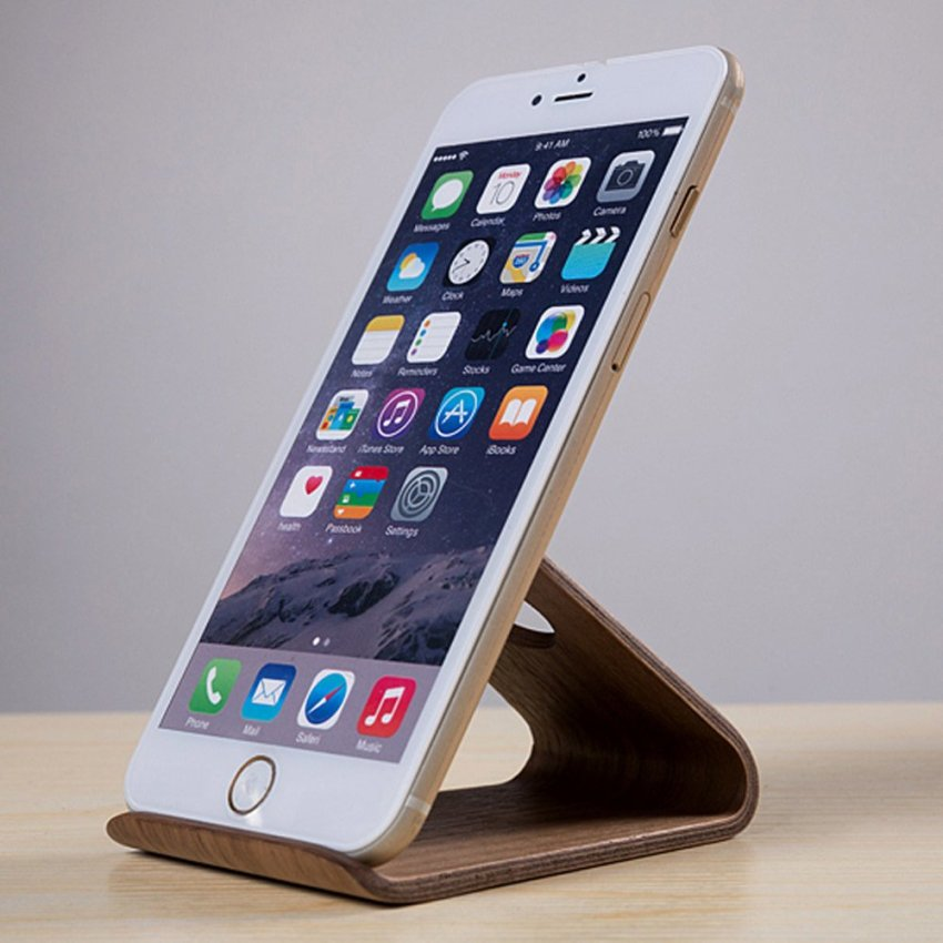 Universal Walnut Wooden Mobile Phone Stand Holder for iPhone 6 Plus Samsung Galaxy S5 S6 Note3 4 LG HTC (Intl)