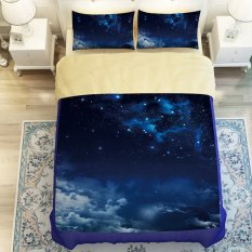 Universe Outer Space Themed 4pcs Galaxy 3D Bedding Sets Bed Linen (Duvet Cover / 1pcs + Bed Sheet / 1pcs + Pillow Case / 2pcs)