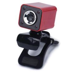 USB 2.0 0.3MP 4 LED HD Webcam Web Cam Camera With MIC For Laptop Computer (Red) - Intl