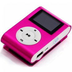 USB Clip MP3 Player LCD Screen Support 32GB Micro SD TF Card Hot Pink Free Shipping
