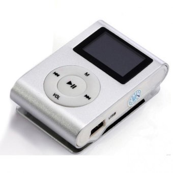 USB Clip MP3 Player LCD Screen Support 32GB Micro SD TF Card Silver Free Shipping