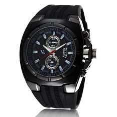 V6 Military Design Casual Watch Black Case Black Silicone Band - Intl