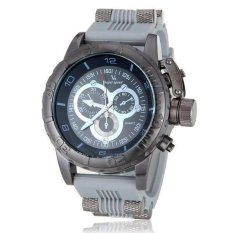 V6 Military Design Casual Watch Black Case Silicone Band Wristwatch Grey - Intl