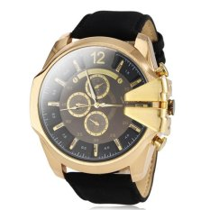 V6 Military Design Casual Watch Gold Case Black PU Leather Band