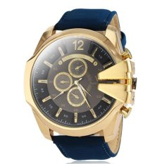 V6 Military Design Casual Watch Gold Case Blue PU Leather Band - Intl