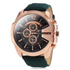 V6 Military Design Casual Watch Rose Gold Case Blue PU Leather Band