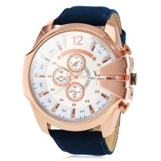 V6 Military Design Casual Watch Rose Gold Case Blue PU Leather Band - Intl