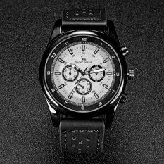 V6 Military Style Casual Quartz Watch PU Leather Band White / Black - Intl