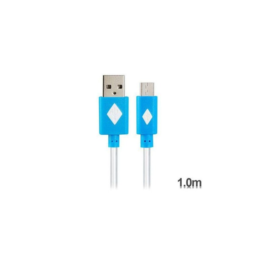V8 1 m LED Colorful Flashing Micro USB to USB Charging Data Cable Blue