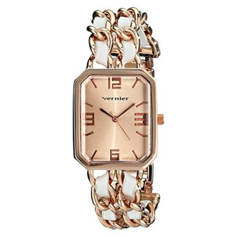 Vernier Women's VNR11180RG Rose Gold-Tone Watch With Faux-Leather And Chain-Link Bracelet - Intl