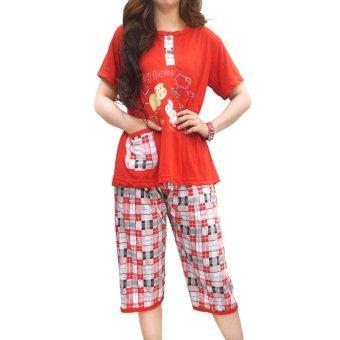 vibelle shop baju tidur setelan 300335 merah lazada