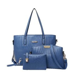 Vicria Tas Branded Wanita 3in1 - Women Office Korean Elegant Bag Style High Quality PU Leather - Biru