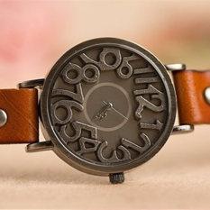 Vintage Style Fashion Skeleton Women Watch Hollow Leather Quartz Ladies Casual Watch (Brown)
